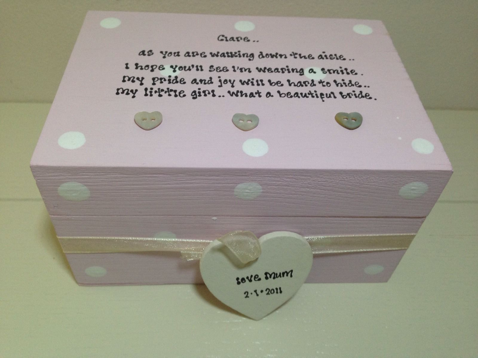 Personalised Chic Gift For The Bride From Mum Daughter Wedding Day ...